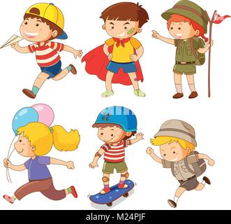 Boys  and girls in different actions illustration - Stock Photo