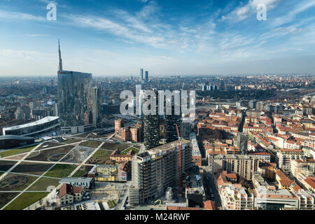 Milan skyline and view of Porta Nuova business district in Italy - Stock Photo