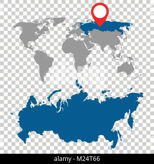 Detailed map of Russia and World map navigation set. Flat vector illustration. - Stock Photo