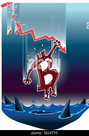 bitcoin symbol falling down into the dark water funny cartoon vignette - Stock Photo