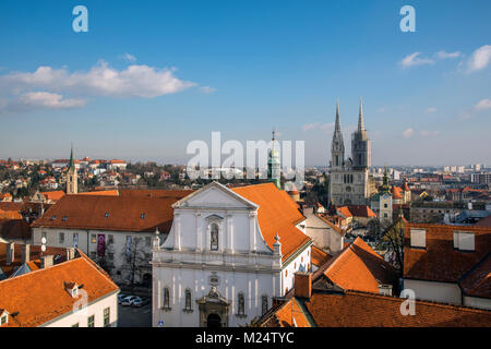 Old town skyline, Zagreb, Croatia - Stock Photo