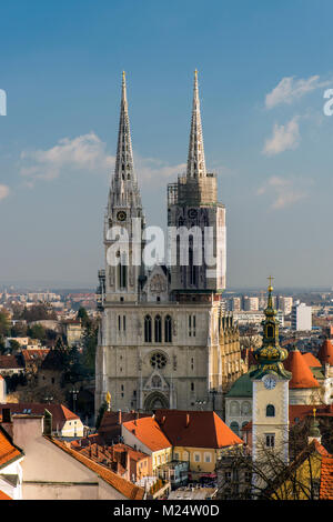 Cathedral of the Assumption of Mary or Zagrebacka katedrala, Zagreb, Croatia - Stock Photo
