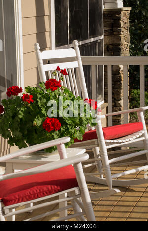 Southern Hospitality - Sit on the Front Porch, Rocking Chair, Summer Living - Stock Photo