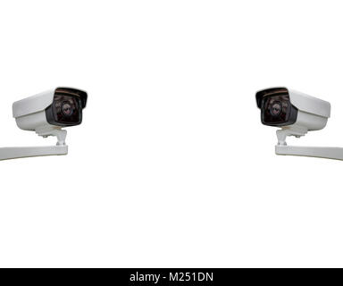 The CCTV camera security isolated background with Clipping Path - Stock Photo