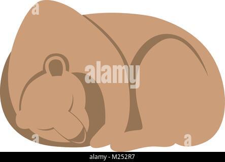 bear sleeping   cartoon vector illustration flat style   profile side - Stock Photo