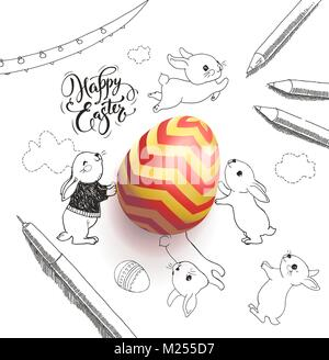 Bright colored egg surrounded by Happy Easter holiday wish handwritten with calligraphic font, funny little rabbits, - Stock Photo