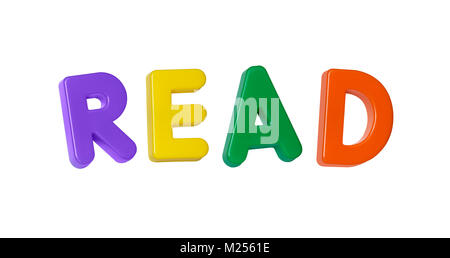 The word 'read' made up from coloured plastic letters - Stock Photo