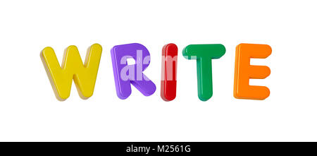 The word 'write' made up from coloured plastic letters - Stock Photo