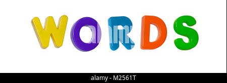 The word 'words' made up from coloured plastic letters - Stock Photo