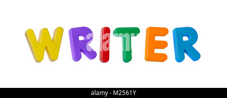 The word 'writer' made up from coloured plastic letters - Stock Photo
