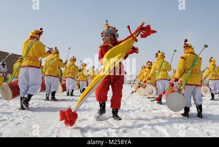 (180205) -- BEIJING, Feb. 5, 2018 (Xinhua) -- File photo taken on Feb. 2, 2008 shows people rehearsing Taiping Drum - Stock Photo