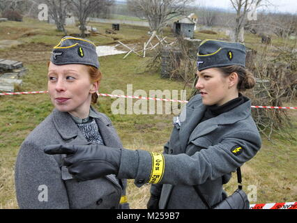 South Moravian Region, Czech Republic. 3rd Feb, 2018. The traditional winter battle in historical uniforms took - Stock Photo