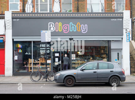 London, UK. 5th February, 2018. Winston Churchill themed Blighty Cafe in Finsbury Park has shot up in the TripAdvisor - Stock Photo