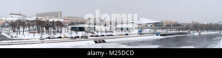 Russian weather, Moscow. Monday, February 5, 2018. The city revives after the monthly norm of snow it got last weekend. - Stock Photo
