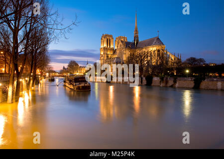 Flooding of the Seine River near Notre-Dame de Paris, Île de la Cité, France during the winter 2018 - Stock Photo