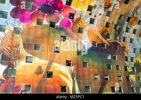 Netherlands, Rotterdam, The colorful food paintings on the ceiling of the Markthal - Stock Photo