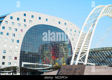 Netherlands, Rotterdam, The modern architectures of the Markthal - Stock Photo