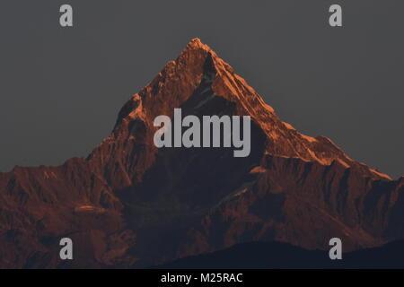 Machhapuchhre Mountain, Annapurna Range, Pokhara, Nepal - Stock Photo