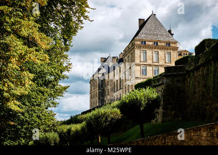 The medieval Chateau de Hautefort in Perigord Noir the Dordogne France. - Stock Photo
