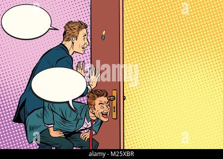 Business spy through the door - Stock Photo