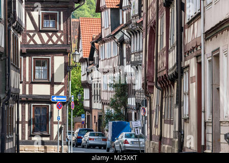Half-timbered houses at Hinter der Stadtmauer, street in Hann Munden, Lower Saxony, Germany - Stock Photo