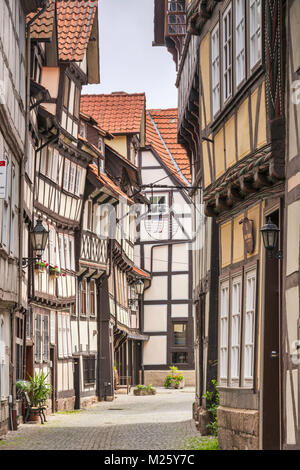 Half-timbered houses at Sydekumstrasse in Hann Munden, Lower Saxony, Germany - Stock Photo