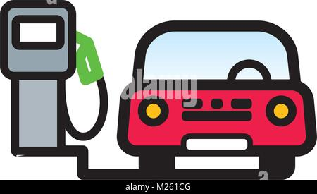 Red Passenger Car at fuel pump in gas station. Linear vector illustration with editable line. EPS10 - Stock Photo