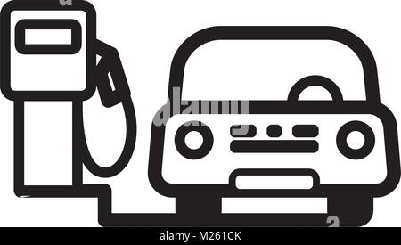 Passenger Car at fuel pump in gas station. Linear vector illustration with editable line. EPS10 - Stock Photo