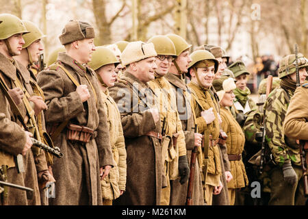 Gomel, Belarus - November 26, 2016: The structure of Soviet soldiers of the Red Army after the victorious battle. - Stock Photo