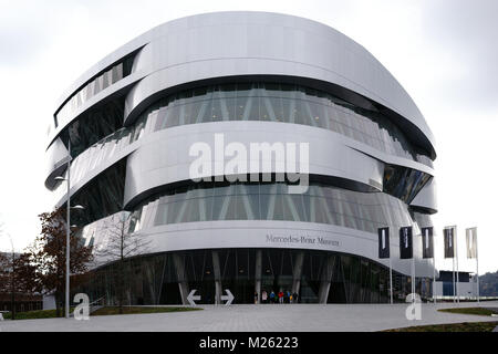 Stuttgart, Germany - February 03, 2018: The forecourt and entrance of the modern Mercedes Benz Museum on February - Stock Photo