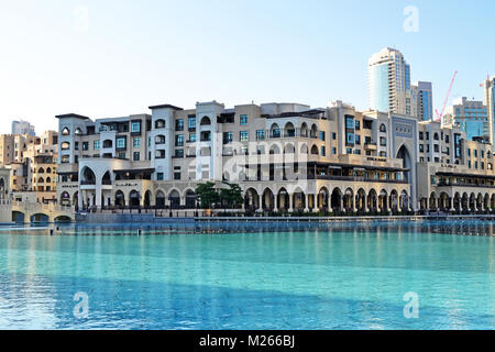 A touristic market area in Dubai called Souk Al-Bahar. Souk Al-Bahar is right in front of Dubai Mall in the United - Stock Photo