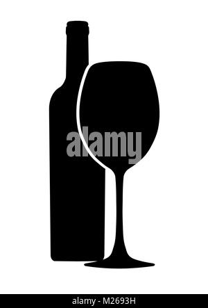 Bottle of wine and wineglass vector icon, logo, sign, emblem, silhouette isolated on white background - Stock Photo