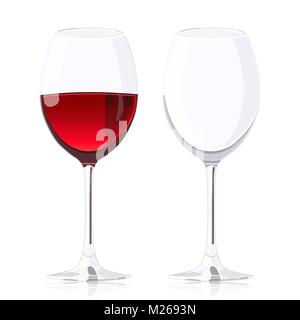 Set glass goblets, wineglass with wine and empty wineglass, vector realistic drawing, isolated on white background - Stock Photo
