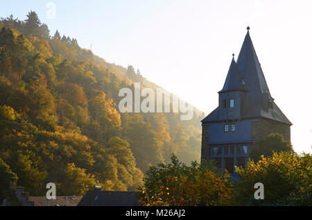 Town gate of Bacharach in the setting autum sun - Stock Photo