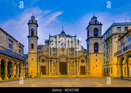 The Cathedral of Havana or the Cathedral of St. Christopher built in the style of colonial baroque, is located in - Stock Photo