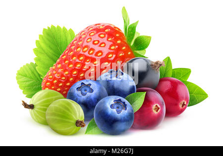 Isolated fresh berries. Pile of strawberry, blueberries, cranberries, gooseberries and black currant with leaves - Stock Photo
