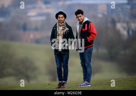 The Rizzle Kicks, an English hip hop duo from Brighton, consisting of Jordan 'Rizzle' Stephens and Harley 'Sylvester' - Stock Photo