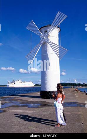 Swinemünde, Usedom, lighthouse on Westmole, Poland - Stock Photo