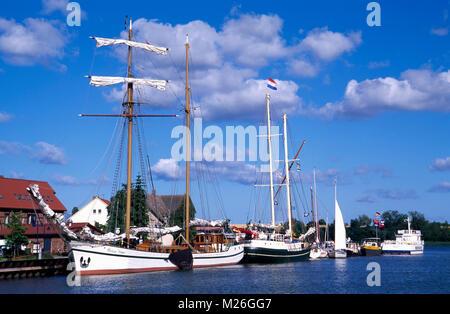 Wolgast, sailing ships in the harbor, Usedom island, Mecklenburg Western Pomerania, Germany - Stock Photo