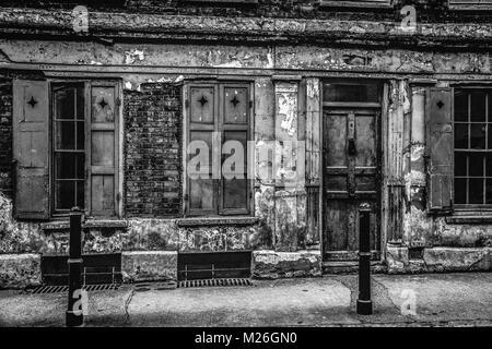 London black and white urban photography: Huguenot style house, Princelet street, Spitalfields, London. - Stock Photo