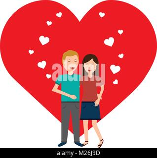 valentines day poster with man and woman tenderly hugging  - Stock Photo