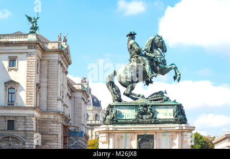 Austria, Vienna, the equestrian monument of the Prince Eugene of Savoy in Helden square - Stock Photo