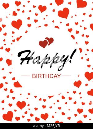 Template design for vertical card. Happy birthday in circle on a - Stock Photo