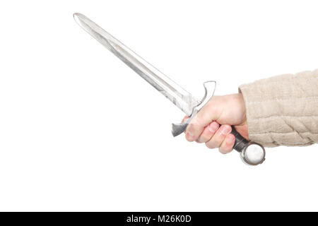 Medieval dagger in hand isolated on white - Stock Photo