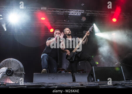 Norway, Kvinesdal – July 7, 2017. The Norwegian progressive metal band Circus Maximus performs a live concert during - Stock Photo