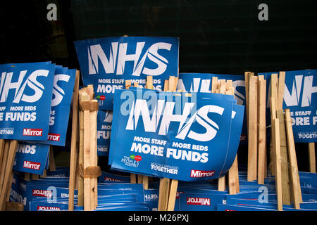 Gower Street, London. Demonstration called by the People's Assembly in support of the NHS (National Health Service}. - Stock Photo