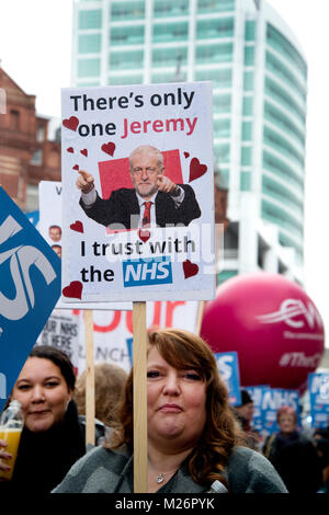 Demonstration called by the People's Assembly in support of the NHS (National Health Service}. A woman holds a placard - Stock Photo