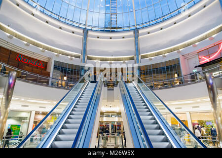 London, UK - February 25, 2018 - Glass dome in Canary Wharf shopping centre - Stock Photo