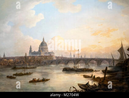 London in the 18th century. Blackfriars Bridge and St Pauls Cathedral by William Marlow (1740-1813), oil on canvas, - Stock Photo