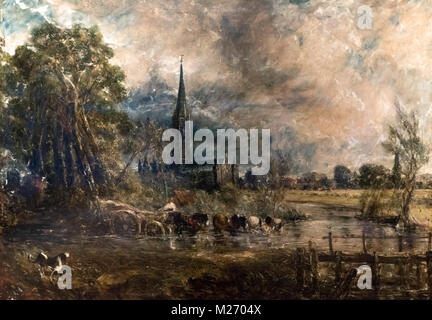 'Salisbury Cathedral from the Meadows' by John Constable (1776-1837), oil on canvas, 1829/31 - Stock Photo